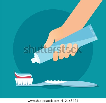 Brushing Teeth. Toothbrush and Toothpaste close up. Hand extrude a toothpaste from a tube on a toothbrush. Teeth care concept. Flat vector illustration eps 8 - stock vector