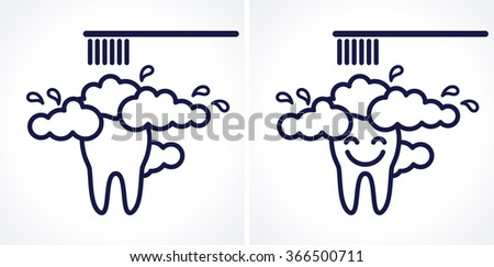 Brushing tooth, smiley brushing tooth with toothbrush and toothpaste. Oral hygiene and teeth care. Dark-blue linear vector illustration. Symbol, sign, icon, logo - stock vector