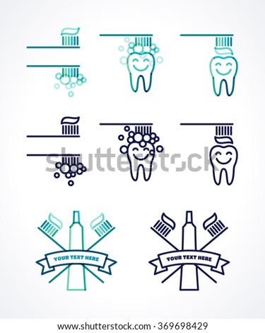 Brushing tooth, smiley brushing tooth with toothbrush and toothpaste. Oral hygiene and teeth care labels set. Green, blue, turquoise transparent overlapping linear vector illustration. Sign, icon - stock vector