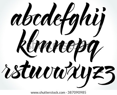 Brushpen alphabet. Modern calligraphy, handwritten letters. Vector illustration.  - stock vector