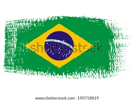 brushstroke flag Brazil with transparent background
