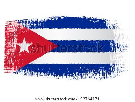 brushstroke flag Cuba - stock vector