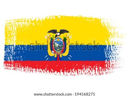 brushstroke flag Ecuador - stock vector