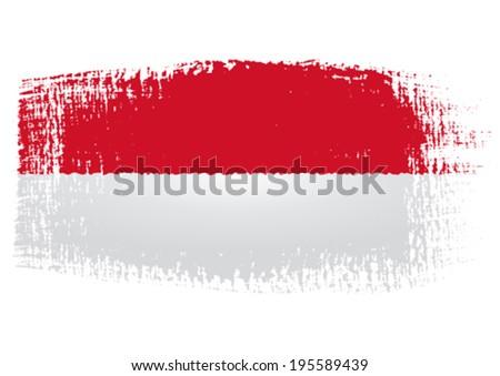 brushstroke flag Indonesia - stock vector
