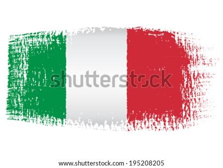 brushstroke flag Italy - stock vector