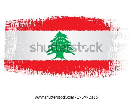 brushstroke flag Lebanon - stock vector