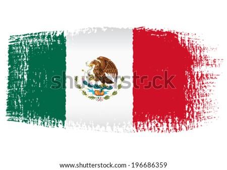 brushstroke flag Mexico - stock vector