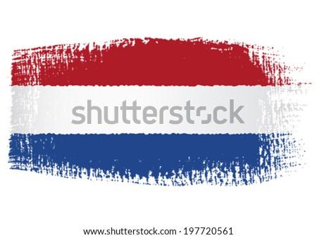 brushstroke flag Netherlands - stock vector