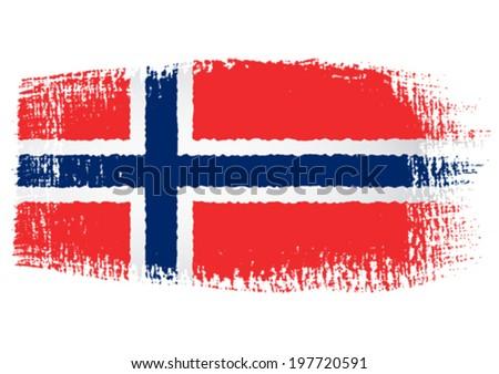 brushstroke flag Norway - stock vector