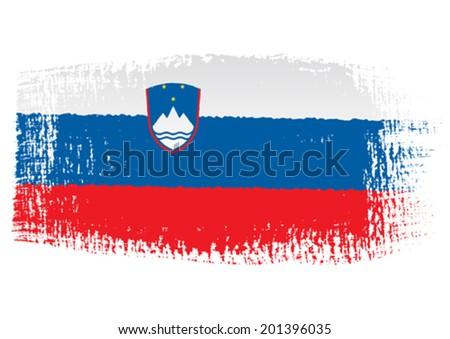 brushstroke flag Slovenia - stock vector