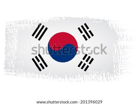 brushstroke flag South Korea - stock vector