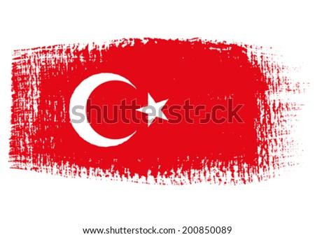 brushstroke flag Turkey - stock vector