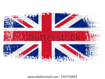 brushstroke flag United Kingdom with transparent background - stock vector