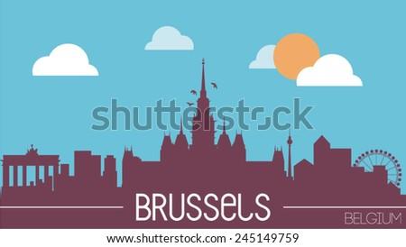Brussels Belgium skyline silhouette flat design vector illustration - stock vector