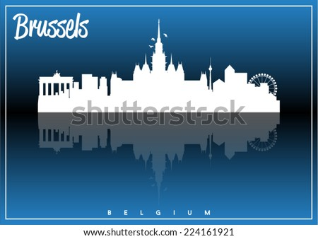 Brussels, Belgium, skyline silhouette vector design on parliament blue and black background. - stock vector