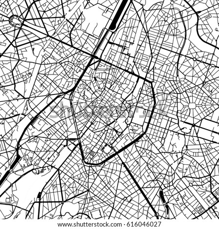 brussels belgium vector map monochrome artprint outline version for infographic background black streets and