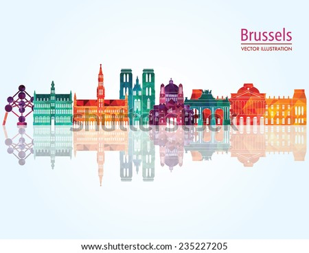 Brussels skyline detailed silhouette. Vector illustration - stock vector