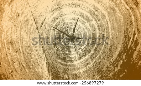 Brutal brown grunge background texture saw cut of the wood - stock vector