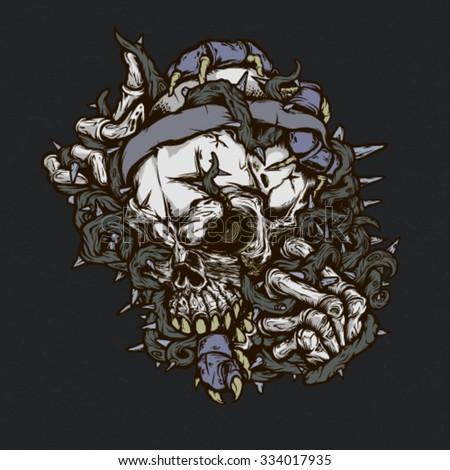 Brutal skull illustration for t-shirt, tattoo and design. - stock vector