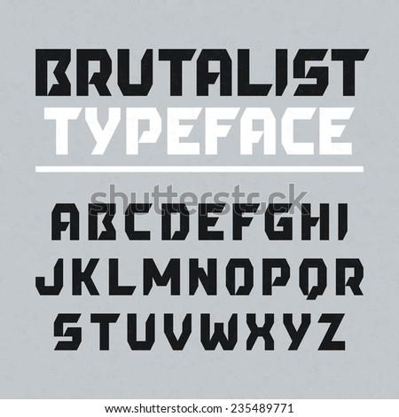Brutalist typeface, alphabet. Vector. - stock vector
