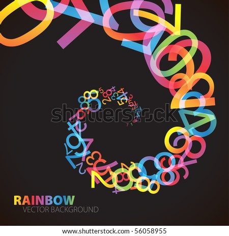 bstract background with colorful rainbow numbers - stock vector