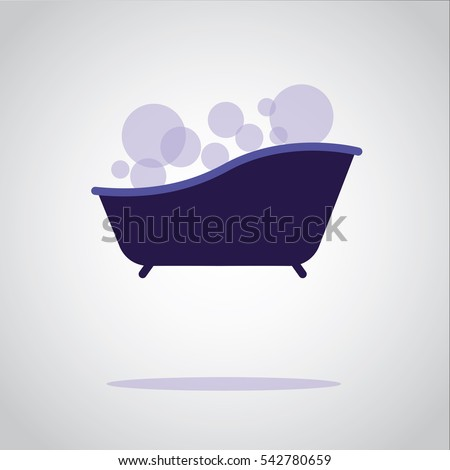Bubble Bath In A Bathtub Illustration Isolated In A Gray Background