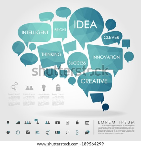 bubble brain geometry with business icon vector - stock vector
