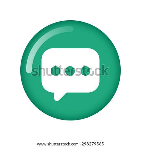 Bubble chat vector icon on green button. Flat design style - stock vector