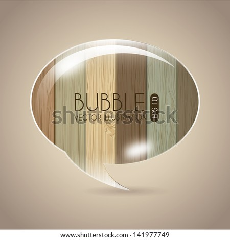 bubble design over wooden background vector illustration - stock vector