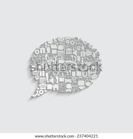 Bubble dialog sign with social media icons - stock vector