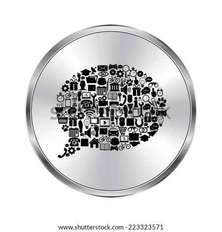 Bubble dialog sign with social media icons - vector brushed metal button - stock vector