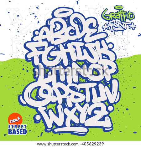 Bubble Graffiti Font Family - stock vector
