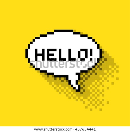 Bubble greeting with Hi!, flat pixelated illustration. - Stock vector - stock vector