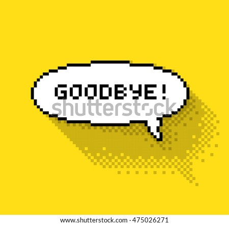 "Bubble greeting with ""So Long!"" phase, flat pixel illustration. - Stock vector"