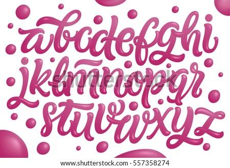 Bubble Gum Alphabet Set Pink Font Stock Vector 557358274