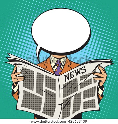 Bubble head reader of the newspaper - stock vector
