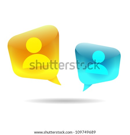 Bubble Heads (Vector illustration of social media users) - stock vector
