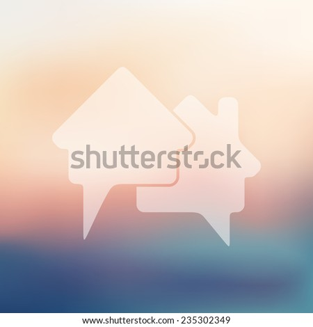 bubble icon on blurred background - stock vector