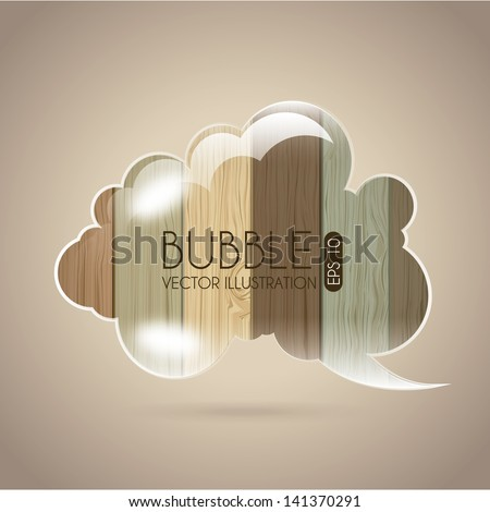 bubble icon over wooden background vector illustration - stock vector