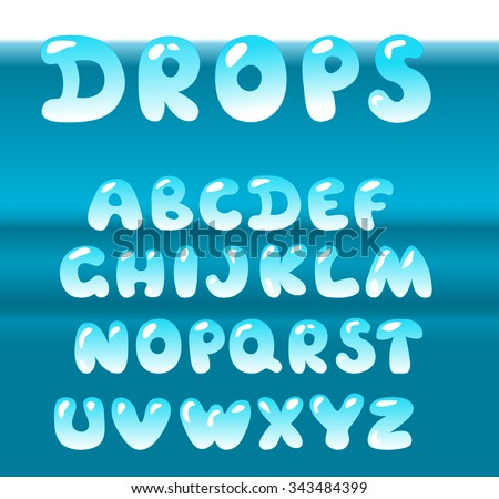 Bubble letters vector set on blue water background. - stock vector