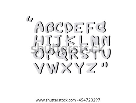 Bubble Line Font Hand Writing Script Stock Vector 454720297