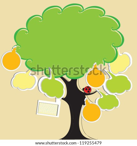 Bubble message on the tree - stock vector