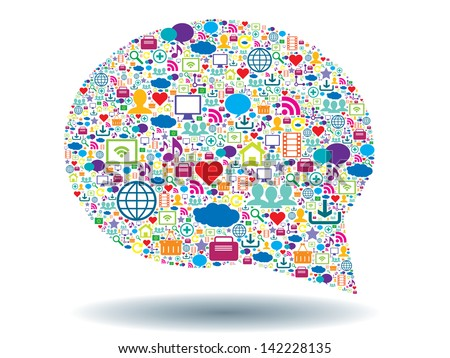 bubble of communication in social network - stock vector