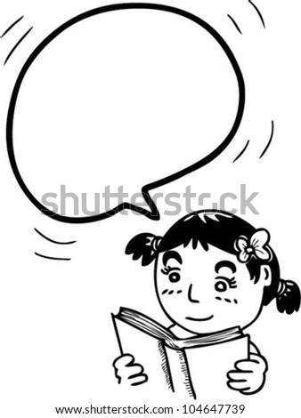 bubble speech from reading girl - stock vector