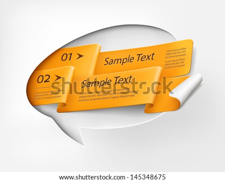 Bubble speech with orange ribbon - stock vector