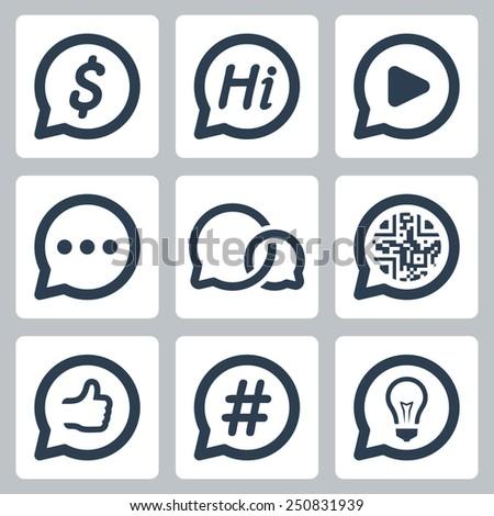 Bubble speeches concepts vector icon set - stock vector