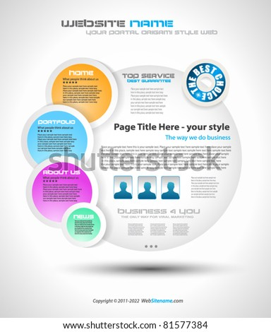 Bubble Style Website - Elegant Design for Business Presentations. Every Shadow is transparent - stock vector