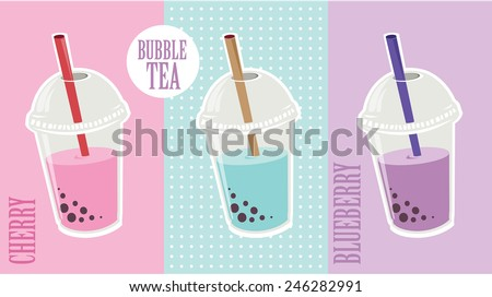 Bubble Tea or Milk Cocktail. Glass of drink with tubule. Retro illustration of bubble tea or milkshake on background. Can be used for greeting cards, party invitations or menu. Vector.