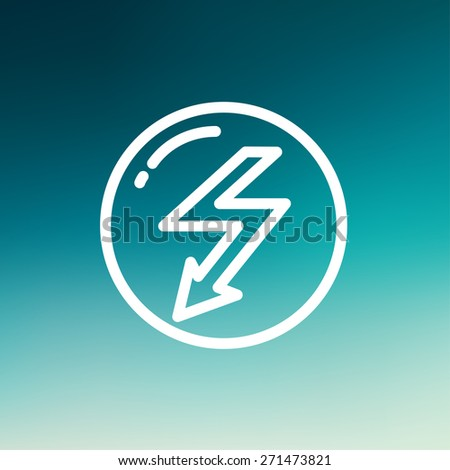 bubble with lightning arrow icon thin line for web and mobile, modern minimalistic flat design. Vector white icon on gradient mesh background. - stock vector
