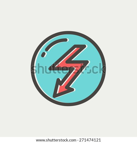 Bubble with lightning arrow icon thin line for web and mobile, modern minimalistic flat design. Vector icon with dark grey outline and offset colour on light grey background. - stock vector